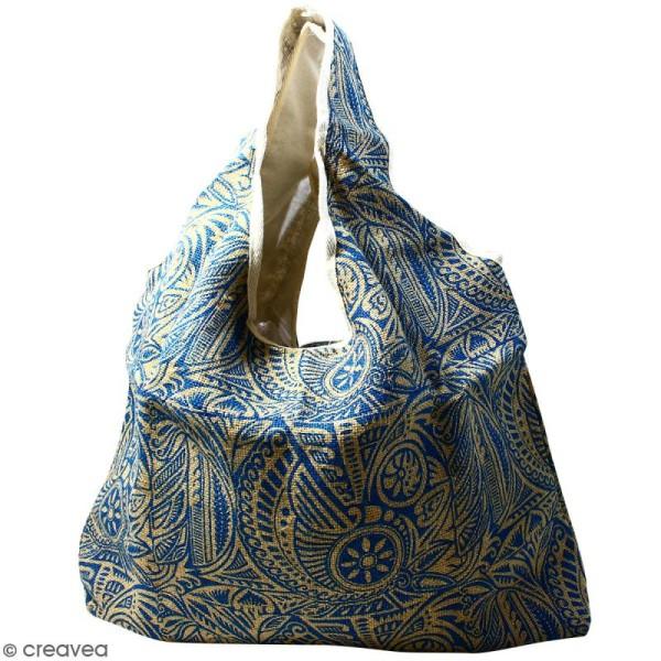 Maxi sac cabas en jute naturelle - Polynésien - Bleu - 62 x 45 cm - Photo n°1