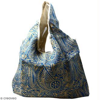 Maxi sac cabas en jute naturelle - Polynésien - Bleu - 62 x 45 cm