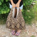 Maxi sac cabas en jute naturelle - Polynésien - Bleu - 62 x 45 cm - Photo n°3