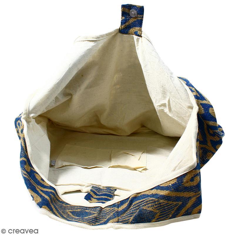 Maxi sac cabas en jute naturelle - Polynésien (grands motifs)- Bleu - 62 x 45 cm - Photo n°2