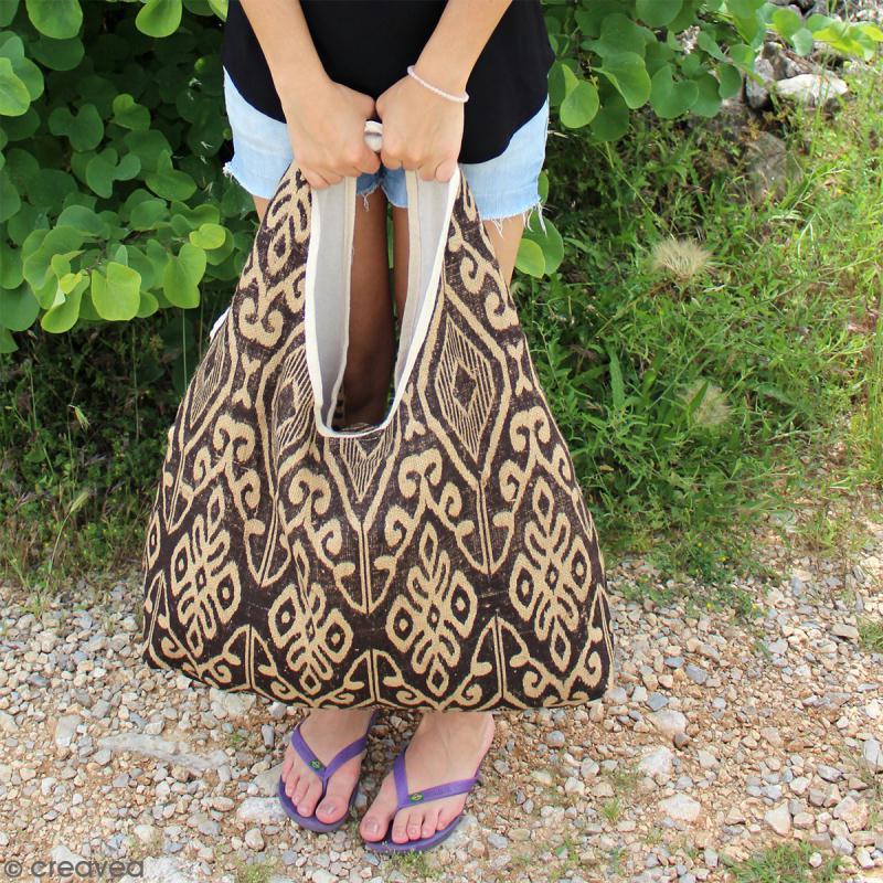 Maxi sac cabas en jute naturelle - Polynésien (grands motifs)- Bleu - 62 x 45 cm - Photo n°3