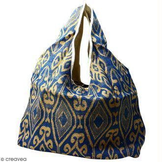 Maxi sac cabas en jute naturelle - Polynésien (grands motifs)- Bleu - 62 x 45 cm