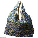 Maxi sac cabas en jute naturelle - Polynésien (grands motifs)- Bleu - 62 x 45 cm - Photo n°1