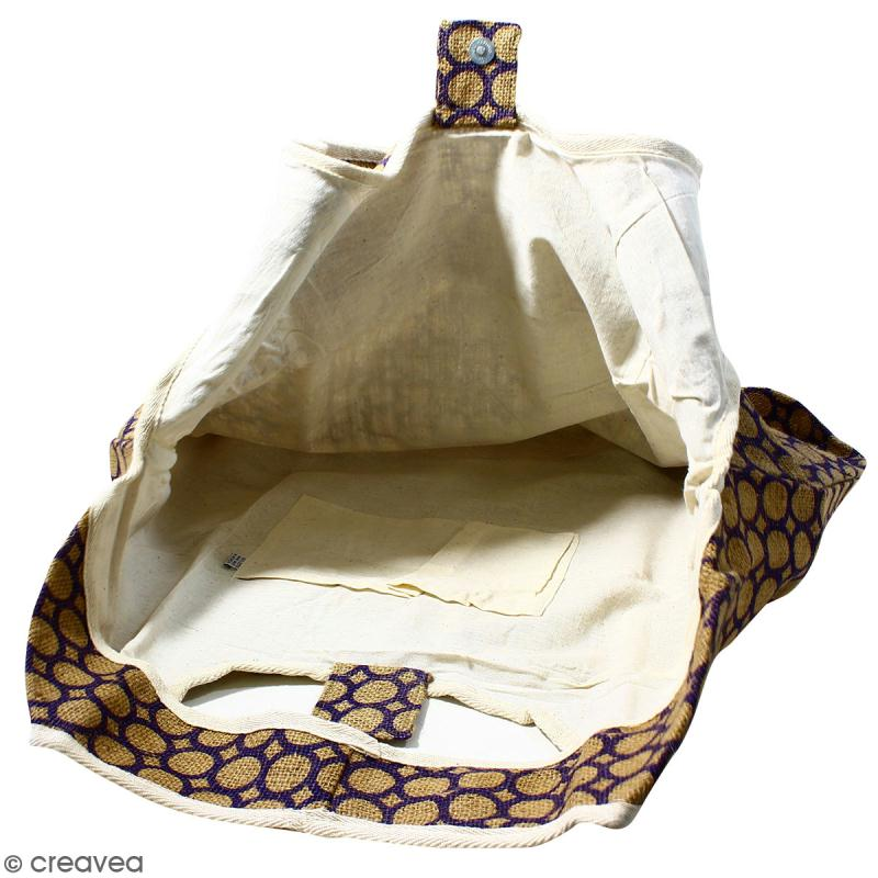 Maxi sac cabas en jute naturelle - Cercle - Violet - 62 x 45 cm - Photo n°2