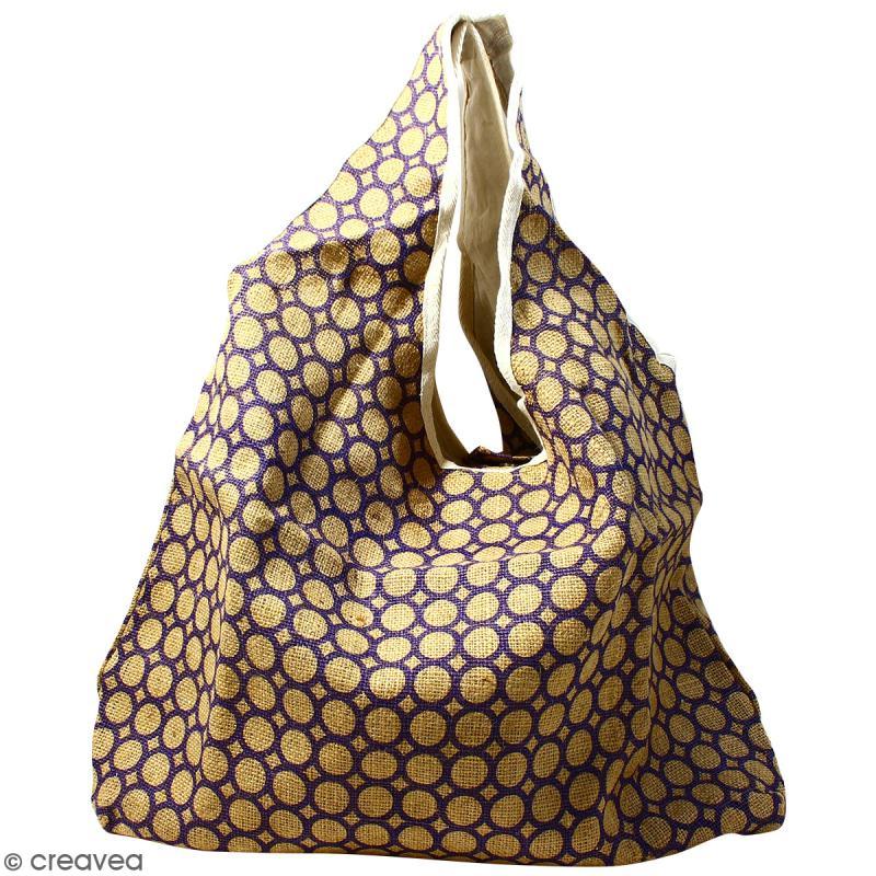 Maxi sac cabas en jute naturelle - Cercle - Violet - 62 x 45 cm - Photo n°1