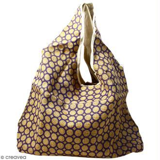 Maxi sac cabas en jute naturelle - Cercle - Violet - 62 x 45 cm