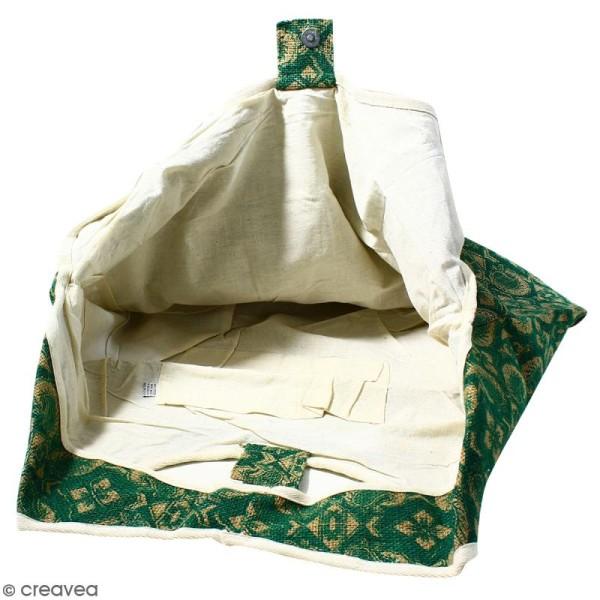 Maxi sac cabas en jute naturelle - Paisley - Vert sapin - 62 x 45 cm - Photo n°2