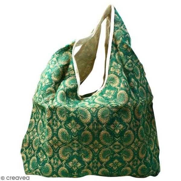 Maxi sac cabas en jute naturelle - Paisley - Vert sapin - 62 x 45 cm - Photo n°1
