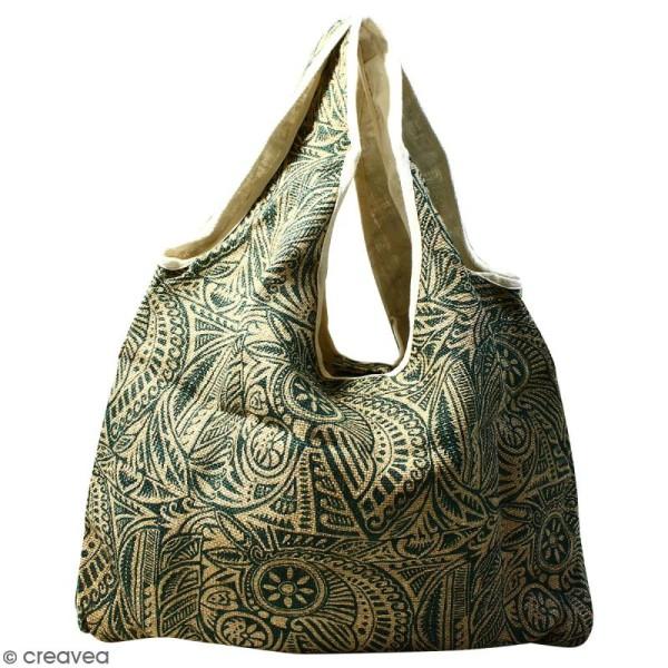 Maxi sac cabas en jute naturelle - Polynésien - Vert foncé - 62 x 45 cm - Photo n°1