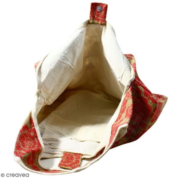 Maxi sac cabas en jute naturelle - Fleurs - Rouge framboise - 62 x 45 cm - Photo n°2