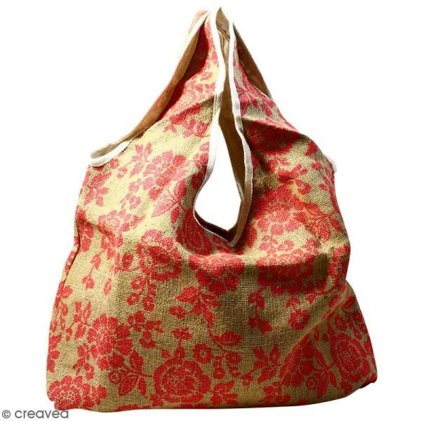 Maxi sac cabas en jute naturelle - Fleurs - Rouge framboise - 62 x 45 cm - Photo n°1
