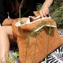 Maxi sac cabas en jute naturelle - Fleurs - Rouge framboise - 62 x 45 cm - Photo n°4