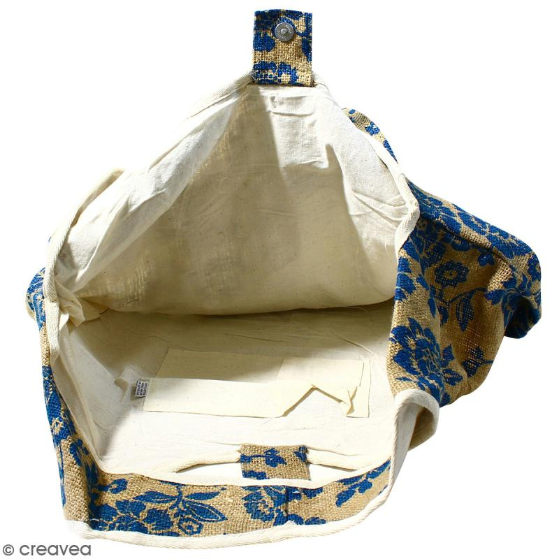Maxi sac cabas en jute naturelle - Fleurs - Bleu - 62 x 45 cm - Photo n°2