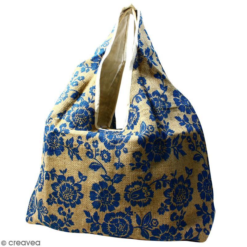 Maxi sac cabas en jute naturelle - Fleurs - Bleu - 62 x 45 cm - Photo n°1