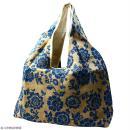 Maxi sac cabas en jute naturelle - Fleurs - Bleu - 62 x 45 cm