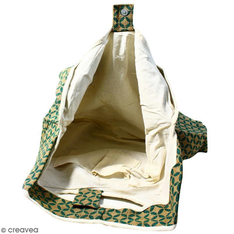 Maxi sac cabas en jute naturelle - Quatre-feuilles - Vert sapin - 62 x 45 cm - Photo n°2