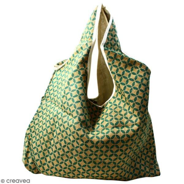 Maxi sac cabas en jute naturelle - Quatre-feuilles - Vert sapin - 62 x 45 cm - Photo n°1