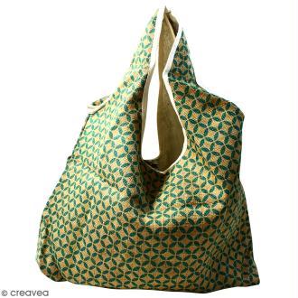 Maxi sac cabas en jute naturelle - Quatre-feuilles - Vert sapin - 62 x 45 cm