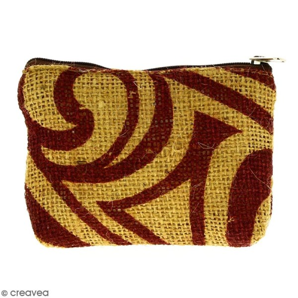 Pochette en jute naturelle taille S - Tribal ethnique - Bordeaux - 13 x 10 cm - Photo n°1