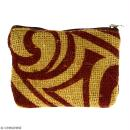 Pochette en jute naturelle taille S - Tribal ethnique - Bordeaux - 13 x 10 cm - Photo n°1