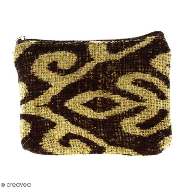 Pochette en jute naturelle taille S - Polynésien (grands motifs) - Marron - 13 x 10 cm - Photo n°1