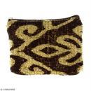 Pochette en jute naturelle taille S - Polynésien (grands motifs) - Marron - 13 x 10 cm