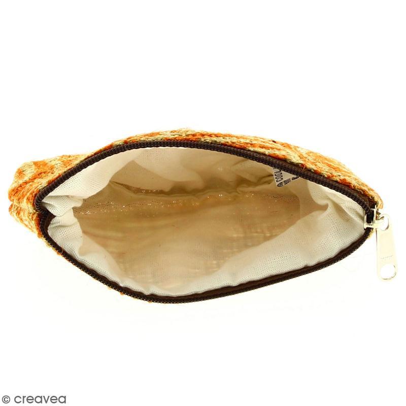 Pochette en jute naturelle taille S - Polynésien - Orange - 13 x 10 cm - Photo n°2
