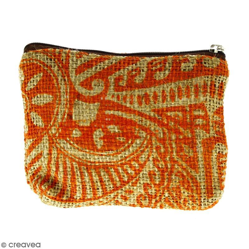 Pochette en jute naturelle taille S - Polynésien - Orange - 13 x 10 cm - Photo n°1