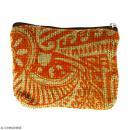 Pochette en jute naturelle taille S - Polynésien - Orange - 13 x 10 cm