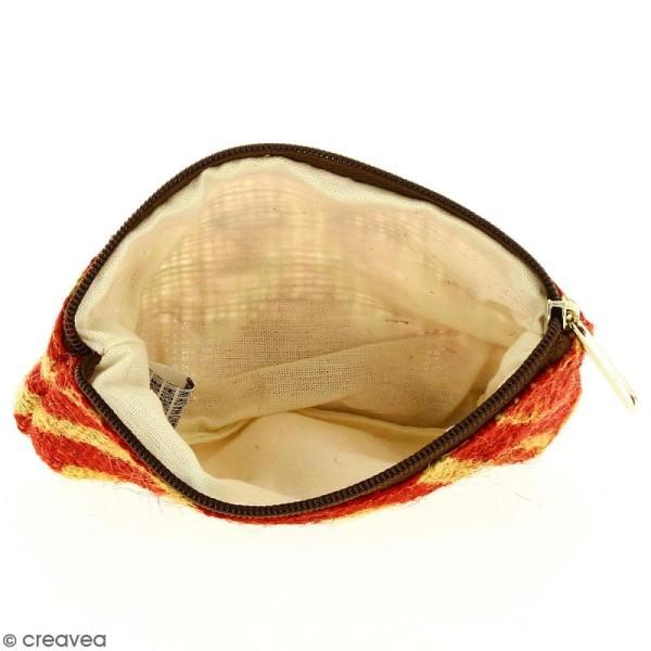 Pochette en jute naturelle taille S - Polynésien (grands motifs) - Rouge - 13 x 10 cm - Photo n°2