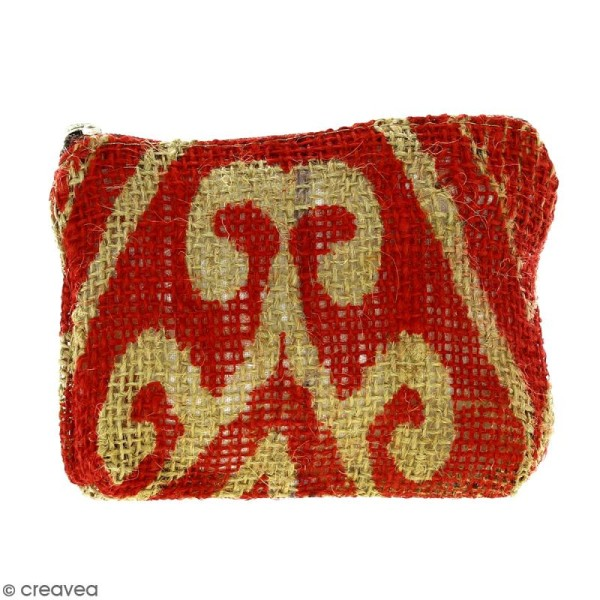 Pochette en jute naturelle taille S - Polynésien (grands motifs) - Rouge - 13 x 10 cm - Photo n°1