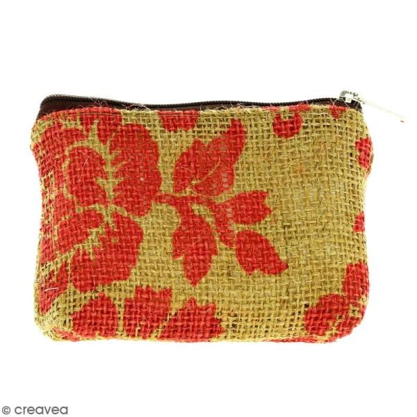 Pochette en jute naturelle taille S - Fleurs - Rouge framboise - 13 x 10 cm - Photo n°1