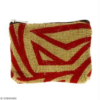 Pochette en jute naturelle taille S - Zébré - Rouge foncé - 13 x 10 cm