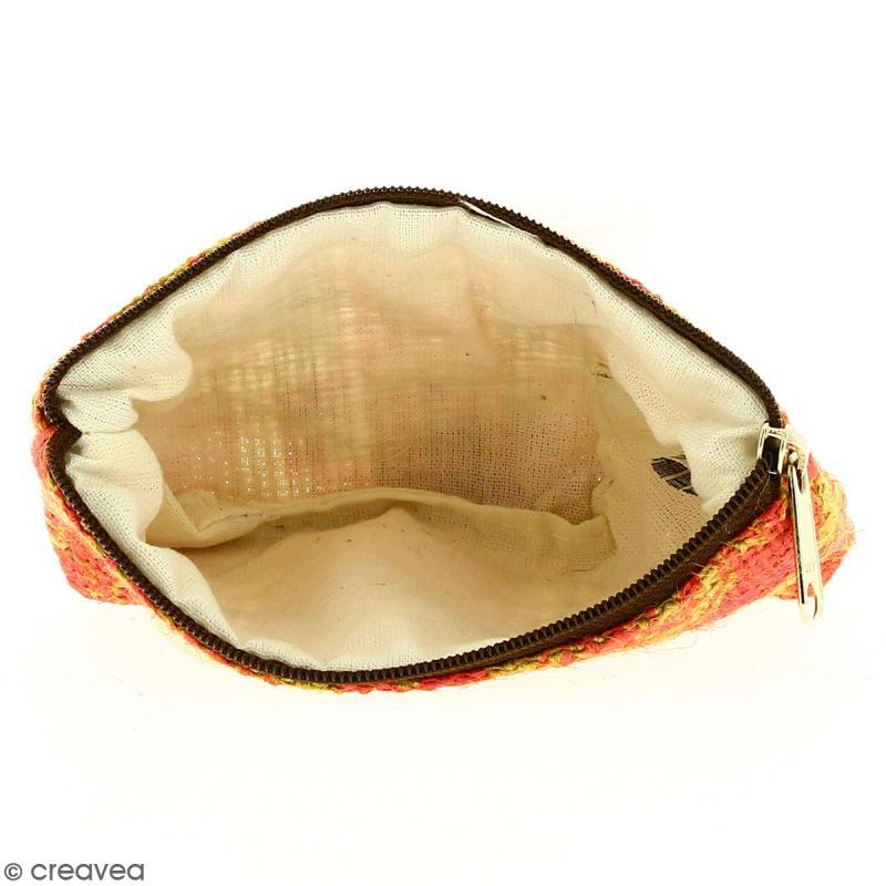Pochette en jute naturelle taille S - Paisley - Rouge framboise - 13 x 10 cm - Photo n°2