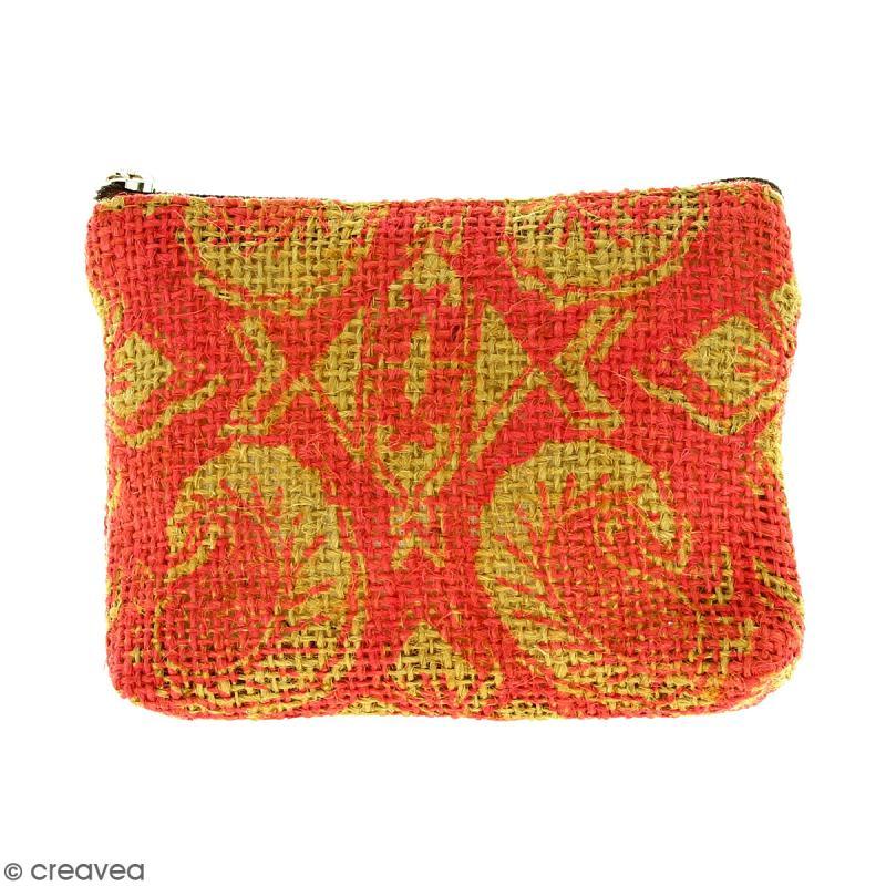 Pochette en jute naturelle taille S - Paisley - Rouge framboise - 13 x 10 cm - Photo n°1
