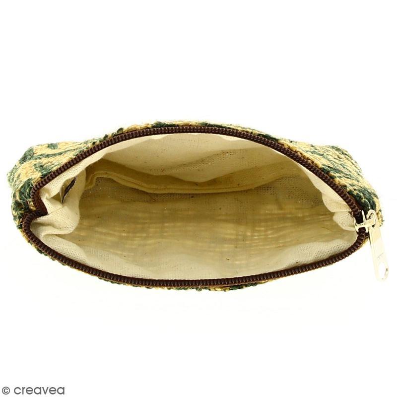 Pochette en jute naturelle taille S - Polynésien - Vert foncé - 13 x 10 cm - Photo n°2