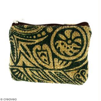 Pochette en jute naturelle taille S - Polynésien - Vert foncé - 13 x 10 cm