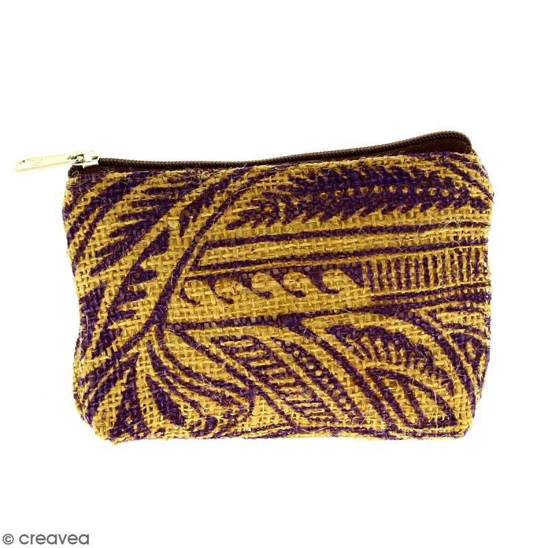 Pochette en jute naturelle taille S - Polynésien - Violet - 13 x 10 cm - Photo n°1
