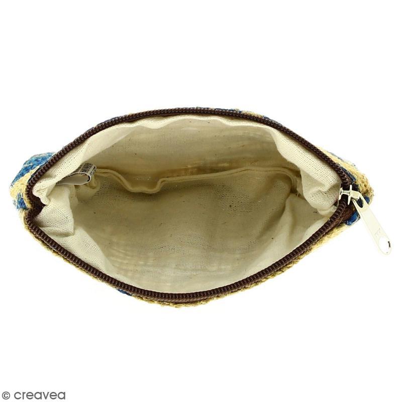 Pochette en jute naturelle taille S - Fleurs - Bleu - 13 x 10 cm - Photo n°2