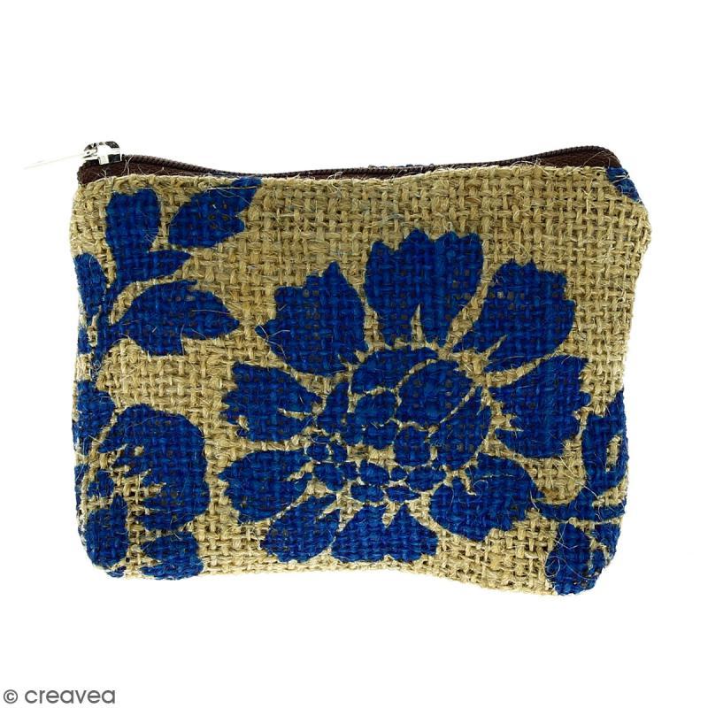 Pochette en jute naturelle taille S - Fleurs - Bleu - 13 x 10 cm - Photo n°1