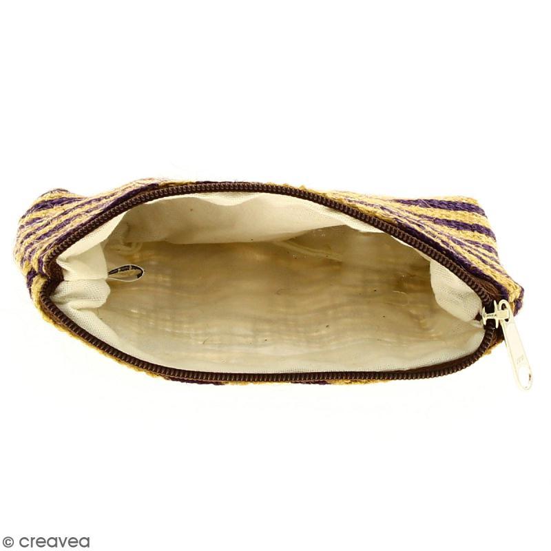 Pochette en jute naturelle taille S - Zébré - Violet - 13 x 10 cm - Photo n°2