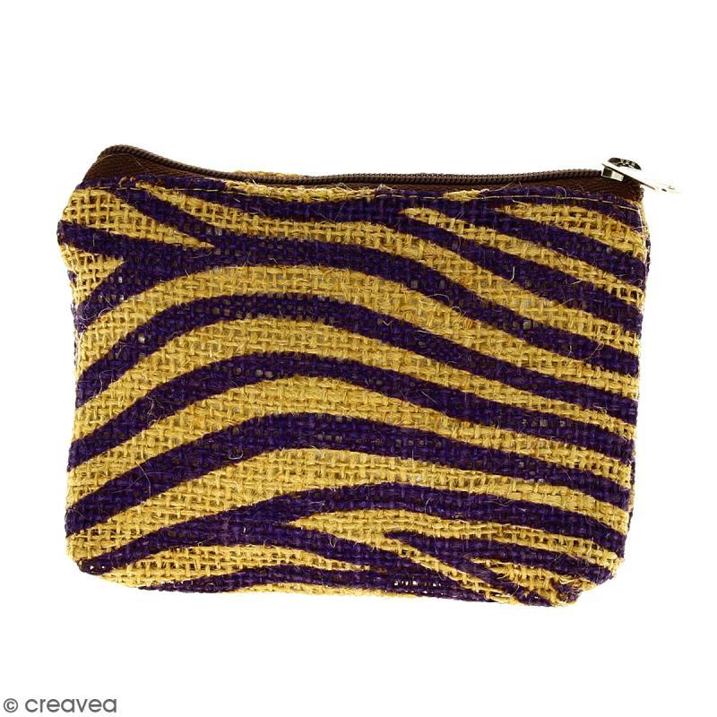 Pochette en jute naturelle taille S - Zébré - Violet - 13 x 10 cm - Photo n°1