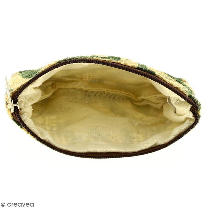 Pochette en jute naturelle taille S - Tribal ethnique - Vert foncé - 13 x 10 cm - Photo n°2
