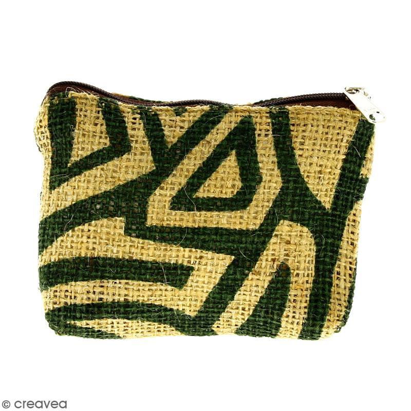 Pochette en jute naturelle taille S - Tribal ethnique - Vert foncé - 13 x 10 cm - Photo n°1