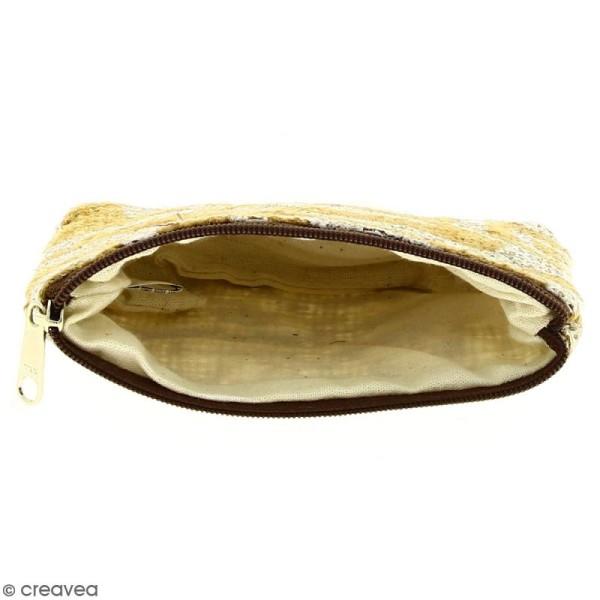 Pochette en jute naturelle taille S - Tribal ethnique - Blanc - 13 x 10 cm - Photo n°2