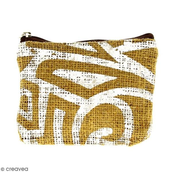 Pochette en jute naturelle taille S - Tribal ethnique - Blanc - 13 x 10 cm - Photo n°1