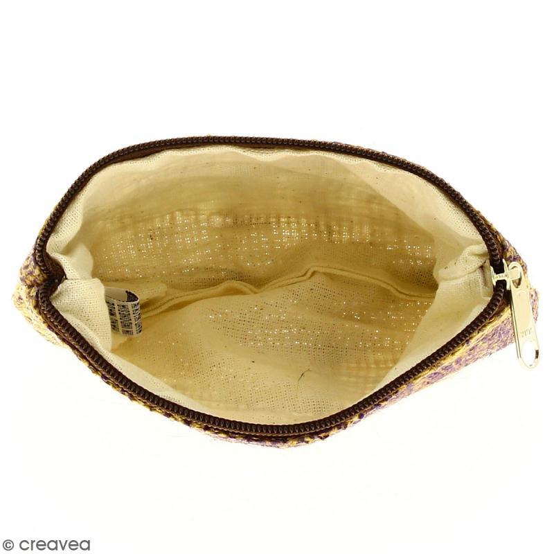 Pochette en jute naturelle taille S - Feuilles - Violet - 13 x 10 cm - Photo n°2