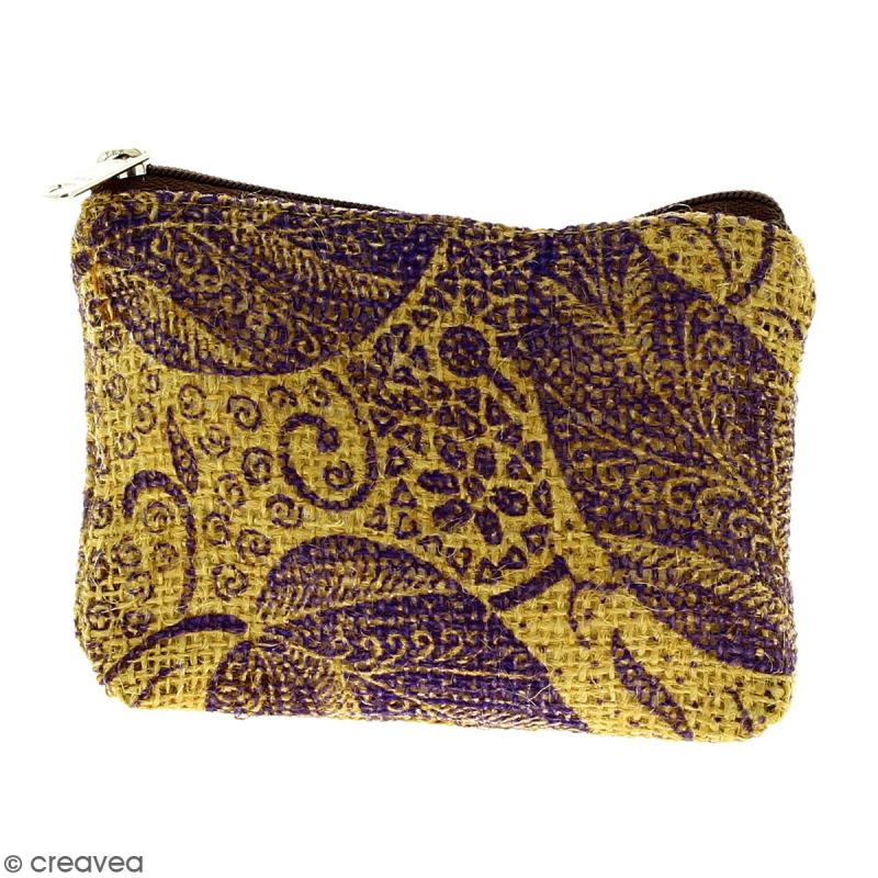 Pochette en jute naturelle taille S - Feuilles - Violet - 13 x 10 cm - Photo n°1