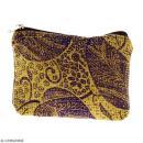 Pochette en jute naturelle taille S - Feuilles - Violet - 13 x 10 cm