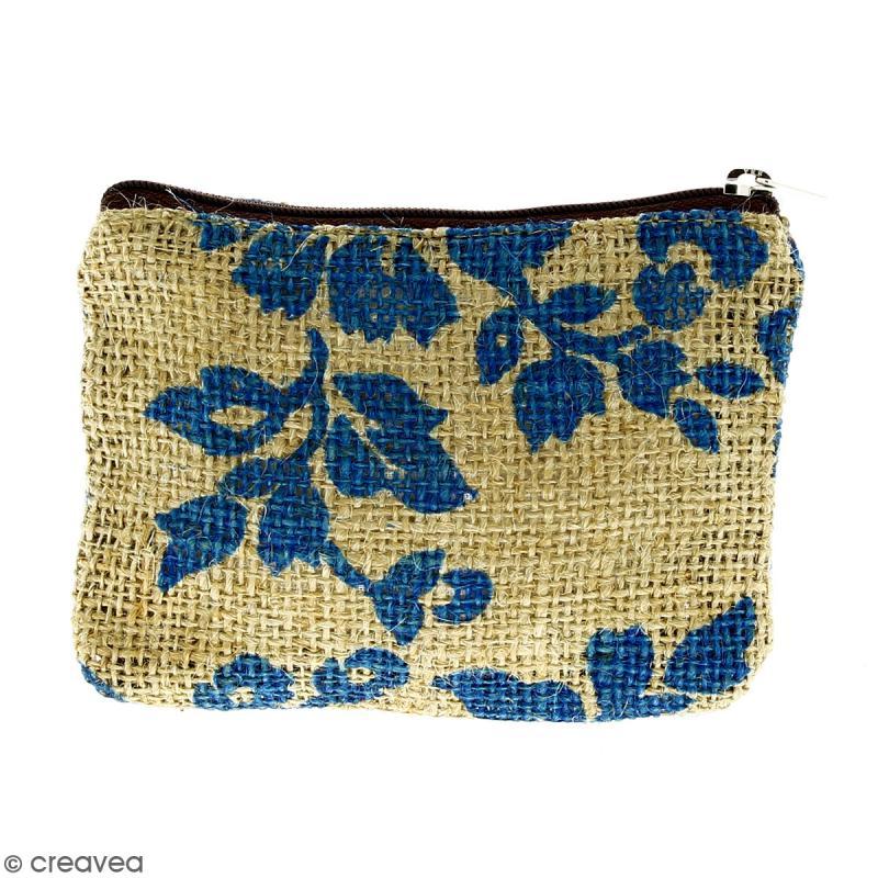 Pochette en jute naturelle taille S - Fleurs - Bleu clair - 13 x 10 cm - Photo n°1